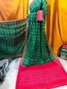 Party Wear Ikkath Handloom Pure Mercerized Cotton Saree, With Blouse, 5.5 M