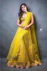 Yellow Net Designer Lehenga Choli