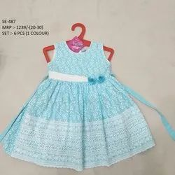 SKY BLUE PRINTED SLEEVES LESS LONG FROCK FOR GIRLS