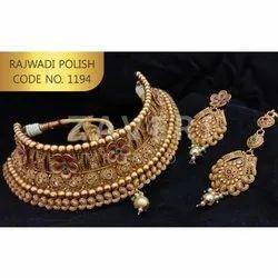 1194 Rajwadi Polish Choker Sets