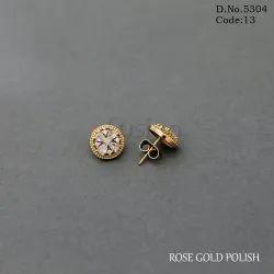 American Diamond Rose Gold Stud Earrings
