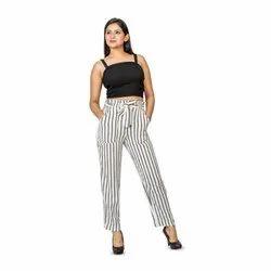 Ladies Rayon Flex Stripe Printed Pant, Machine Wash, Size: S.m.l.xl