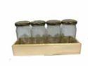 Pine Wood Tray With Glass 4 Jars -9.25X2.5X1.5