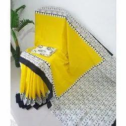 Tanishaka Fab Formal Wear Ladies Printed Yellow Cotton Saree, 6.3 m (with blouse piece)
