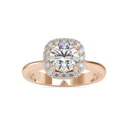 Round Cut White Moissanite Ring White Yellow Rose Gold For Engagement