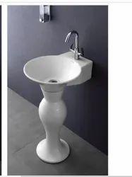 Ceramic White Dolphine Pedestal Wash Basin, For Bathroom