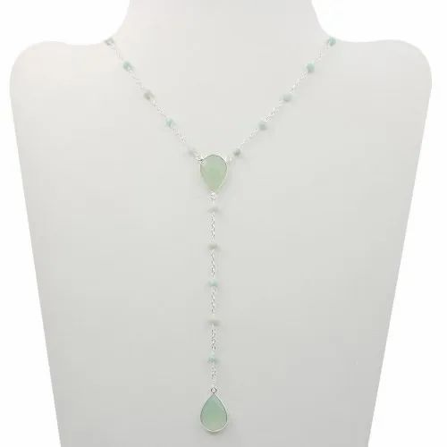 Necklace with beads and aqua chalcedony