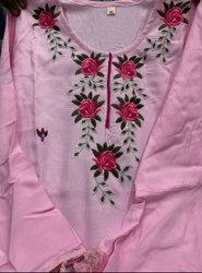 Casual Wear Straight Ladies Rayon Embroidery Kurti Bell Sleeve With Palazzo