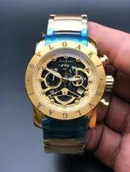 Round Luxury(Premium) Bvlgari Gold Watch For Man
