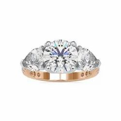 Three Stones Round Pear Cut Full White Moissanite White,Yellow,Rose Gold For Engagement
