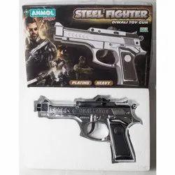 Silver Steel Fighter Plastic Toy Gun