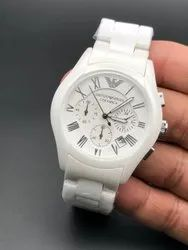 Round White Armani Ceramic Watch For Man, For Personal Use