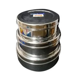 Silver Steel Lunch Box, 1 SS containers, Capacity: 300ML