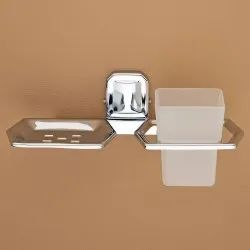 Silver Plantex Cl Stainless Steel 304 Ct Tumbler Holder With Soap Dish, Size: 25 X 11 X 8 Cm
