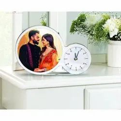 Table Photo Frame With Clock