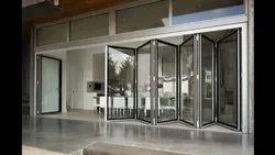 Glass, Aluminum Aluminum Folding Sliding Glass Door, For Office, Exterior