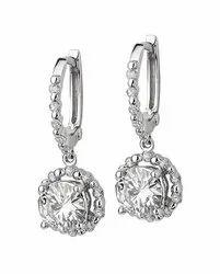 1.90 Ctw. Moissanite Diamond Designer Earrings In 14K White Gold