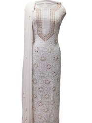 Hand Embroidered Lucknow Chikankari Viscose Georgette Unstitch Dress Material