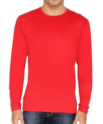 Full Sleeves Red Cotton T-Shirt, Age Group: 15 To 60
