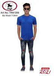 Embroidery Half Sleeve Men's Round Neck 100% Cotton & Bio-Wash T Shirt