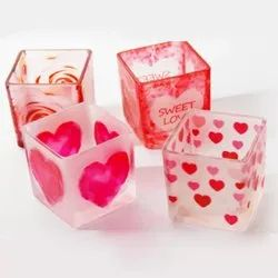 Glass Printed Heart Square Candle Jar Votive Holder