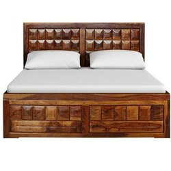 Malik Furniture Oak Wood Wooden Polished Double Bed, With Storage