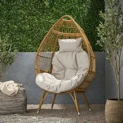 Outdoor Standing Wicker Basket Chair With Cushion