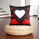 Black And Red Heart Printed Cushion