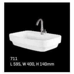 Cornea Ceramic 711 Caramic Wash Basin, For Bathroom and home and hotel, Model Name/Number: 1.10