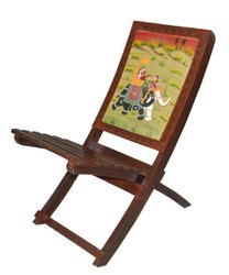 Handmade Solid Wood Ethnic Looks Folding Relax Chair with Hand Royal Painting