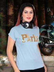 Half Sleeve Round Stylish Women Fancy T-shirt, Size: Free Size
