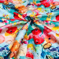 Multicolor Semi Sequence Modal Satin Digital Printed Fabric, For Garments, GSM: 50-100