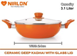 Nirlon Non-Stick Ceramic Coated Deep Kadai 24cm