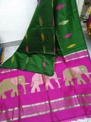 Casual Wear Printed Silk Cotton Saree, With Blouse, 6.3 m