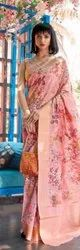 Dot Exports Printed Stylish New Silk Indian Sarees, 6 m (with blouse piece)