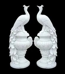 WHITE MARBLE PEACOCK STATUE, For Home, Size: 5 Fit