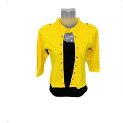 Casual Jackets Ladies Yellow Crop Jacket, Size: Medium