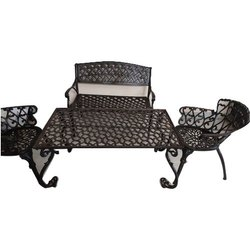 Black Cast Aluminum Table Set, For Outdoor