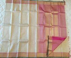 Cream&Pink Color Combination Silk Saree
