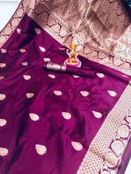 Colorthreads 6.3 m (with blouse piece) SOFT BANARASI COTTON SILK SAREE