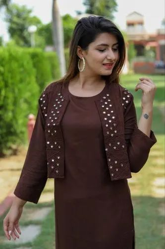 Brown Rayon Kurti With Jacket Set