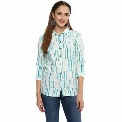 Cotton Printed White Casual Shirt