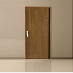 Brown Powder Coated Wood Finish Steel Door, For Home, Single