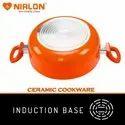 Nirlon Non Stick Induction Based Ceramic Casserole with Glass Lid, 3.1 Liter, Orange