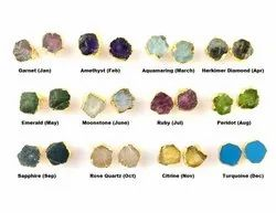 Birthstone Raw Stud Earring - Gold Electroplated Gemstone Stud