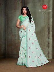Party Wear Embroidery Linen Saree