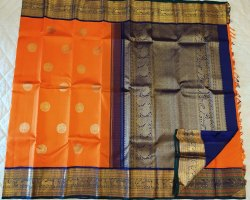 Vivid Orange & Purple Silk Saree
