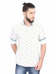 Guniaa 100% Cotton Mens Casual Flower Printed Shirt