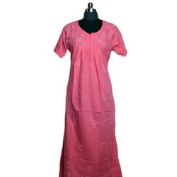 Full Length Embroidered Pink Designer Cotton Nightgown, Free Size