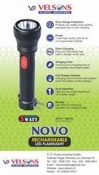 ABS White Novo Rechargeable LED Flashlight (3 Watt), Battery Type: Lithium Ion (1200 Mah)